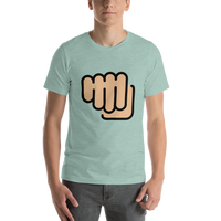 Emoji T-Shirt Store | Oncoming Fist, Medium Light Skin Tone emoji t-shirt in Green