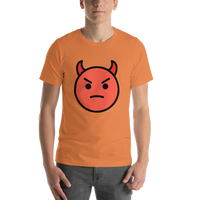 Emoji T-Shirt Store | Angry Face With Horns emoji t-shirt in Orange
