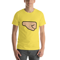 Emoji T-Shirt Store | Right Facing Fist, Medium Light Skin Tone emoji t-shirt in Yellow