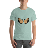 Emoji T-Shirt Store | Open Hands, Medium Skin Tone emoji t-shirt in Green