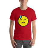 Emoji T-Shirt Store | Downcast Face With Sweat emoji t-shirt in Red