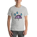 Emoji T-Shirt Store | Umbrella With Rain Drops emoji t-shirt in Light gray