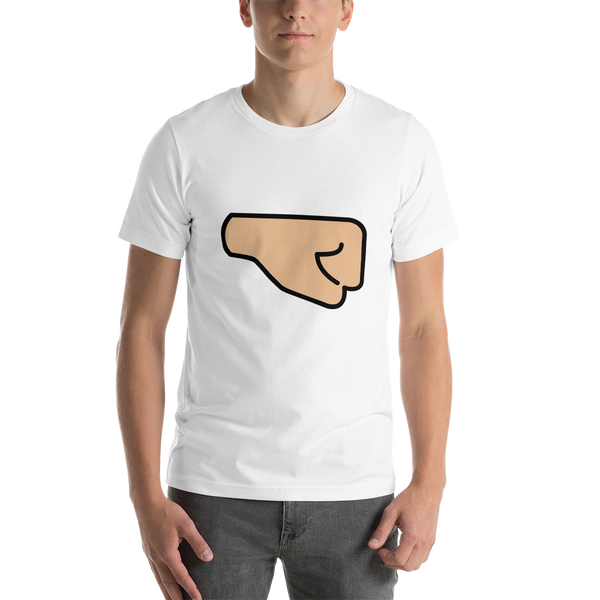 Emoji T-Shirt Store | Right Facing Fist, Medium Light Skin Tone emoji t-shirt in White