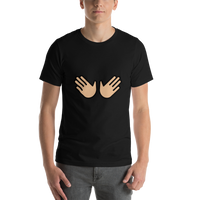 Emoji T-Shirt Store | Open Hands, Medium Light Skin Tone emoji t-shirt in Black
