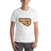 Emoji T-Shirt Store | Right Facing Fist, Medium Skin Tone emoji t-shirt in White