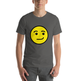 Emoji T-Shirt Store | Smirking Face emoji t-shirt in Dark gray