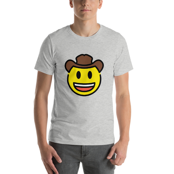 Emoji T-Shirt Store | Cowboy Hat Face emoji t-shirt in Light gray