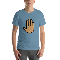 Emoji T-Shirt Store | Raised Back Of Hand, Medium Skin Tone emoji t-shirt in Blue
