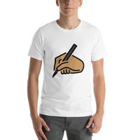 Emoji T-Shirt Store | Writing Hand, Medium Skin Tone emoji t-shirt in White