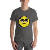 Emoji T-Shirt Store | Pleading Face emoji t-shirt in Dark gray