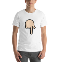 Emoji T-Shirt Store | Backhand Index Pointing Down, Light Skin Tone emoji t-shirt in White