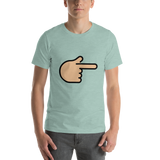 Emoji T-Shirt Store | Backhand Index Pointing Right, Medium Light Skin Tone emoji t-shirt in Green