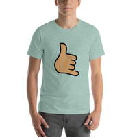 Emoji T-Shirt Store | Call Me Hand, Medium Skin Tone emoji t-shirt in Green