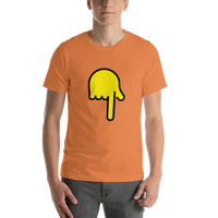 Emoji T-Shirt Store | Backhand Index Pointing Down emoji t-shirt in Orange