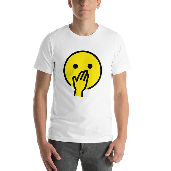 Emoji T-Shirt Store | Face With Hand Over Mouth emoji t-shirt in White