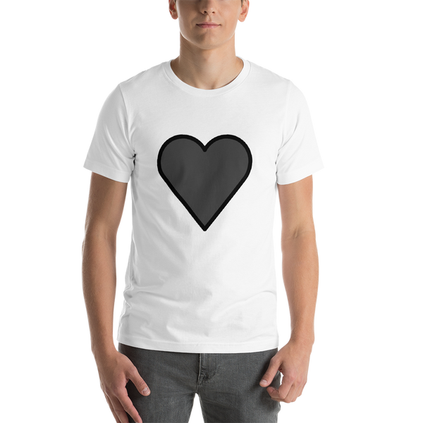 Emoji T-Shirt Store | Black Heart emoji t-shirt in White