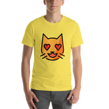 Emoji T-Shirt Store | Smiling Cat With Heart-Eyes emoji t-shirt in Yellow
