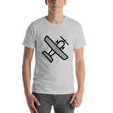 Emoji T-Shirt Store | Small Airplane emoji t-shirt in Light gray