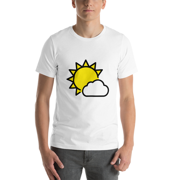 Emoji T-Shirt Store | Sun Behind Small Cloud emoji t-shirt in White