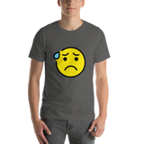 Emoji T-Shirt Store | Anxious Face With Sweat emoji t-shirt in Dark gray