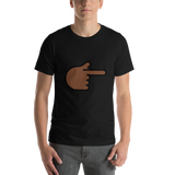 Emoji T-Shirt Store | Backhand Index Pointing Right, Dark Skin Tone emoji t-shirt in Black