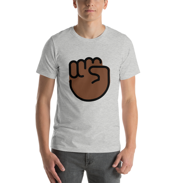 Emoji T-Shirt Store | Raised Fist, Dark Skin Tone emoji t-shirt in Light gray
