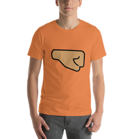 Emoji T-Shirt Store | Right Facing Fist, Medium Skin Tone emoji t-shirt in Orange