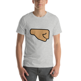 Emoji T-Shirt Store | Right Facing Fist, Medium Skin Tone emoji t-shirt in Light gray