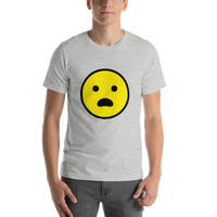 Emoji T-Shirt Store | Frowning Face With Open Mouth emoji t-shirt in Light gray