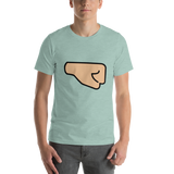 Emoji T-Shirt Store | Right Facing Fist, Medium Light Skin Tone emoji t-shirt in Green