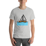 Emoji T-Shirt Store | Sailboat emoji t-shirt in Light gray