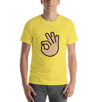 Emoji T-Shirt Store | Ok Hand, Medium Light Skin Tone emoji t-shirt in Yellow