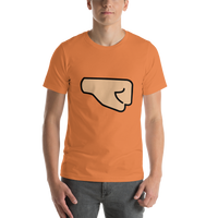 Emoji T-Shirt Store | Right Facing Fist, Medium Light Skin Tone emoji t-shirt in Orange