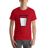 Emoji T-Shirt Store | Glass Of Milk emoji t-shirt in Red