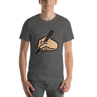 Emoji T-Shirt Store | Writing Hand, Medium Light Skin Tone emoji t-shirt in Dark gray
