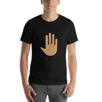 Emoji T-Shirt Store | Raised Back Of Hand, Medium Skin Tone emoji t-shirt in Black