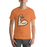 Emoji T-Shirt Store | Flexed Biceps, Light Skin Tone emoji t-shirt in Orange