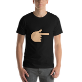Emoji T-Shirt Store | Backhand Index Pointing Right, Medium Light Skin Tone emoji t-shirt in Black