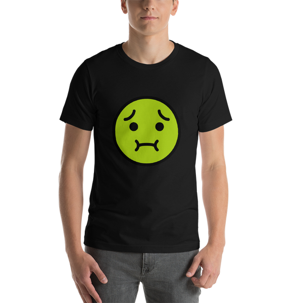 Emoji T-Shirt Store | Nauseated Face emoji t-shirt in Black