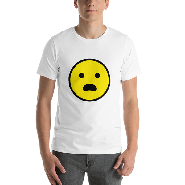 Emoji T-Shirt Store | Frowning Face With Open Mouth emoji t-shirt in White