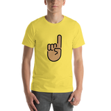 Emoji T-Shirt Store | Index Pointing Up, Medium Skin Tone emoji t-shirt in Yellow