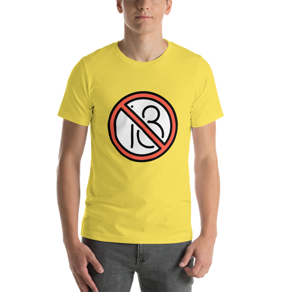 Emoji T-Shirt Store | No One Under Eighteen emoji t-shirt in Yellow