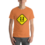 Emoji T-Shirt Store | Children Crossing emoji t-shirt in Orange