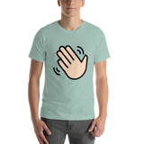 Emoji T-Shirt Store | Waving Hand, Light Skin Tone emoji t-shirt in Green