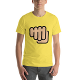 Emoji T-Shirt Store | Oncoming Fist, Medium Light Skin Tone emoji t-shirt in Yellow