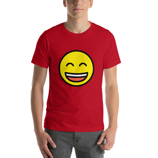 Emoji T-Shirt Store | Grinning Face With Smiling Eyes emoji t-shirt in Red