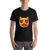 Emoji T-Shirt Store | Smiling Cat With Heart-Eyes emoji t-shirt in Black