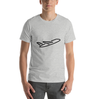 Emoji T-Shirt Store | Airplane Departure emoji t-shirt in Light gray