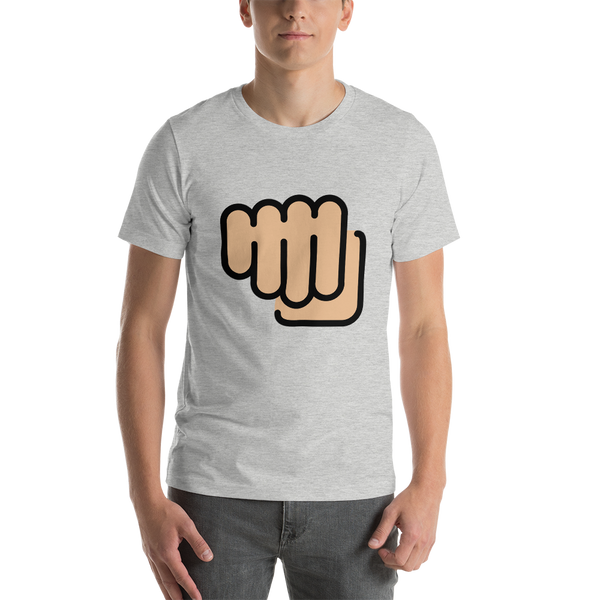 Emoji T-Shirt Store | Oncoming Fist, Medium Light Skin Tone emoji t-shirt in Light gray