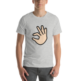 Emoji T-Shirt Store | Pinching Hand, Light Skin Tone emoji t-shirt in Light gray